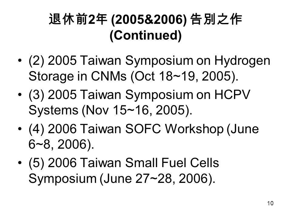 10 退休前 2 年 (2005&2006) 告別之作 (Continued) (2) 2005 Taiwan Symposium on Hydrogen Storage in CNMs (Oct 18~19, 2005). (3) 2005 Taiwan Symposium on HCPV Sys