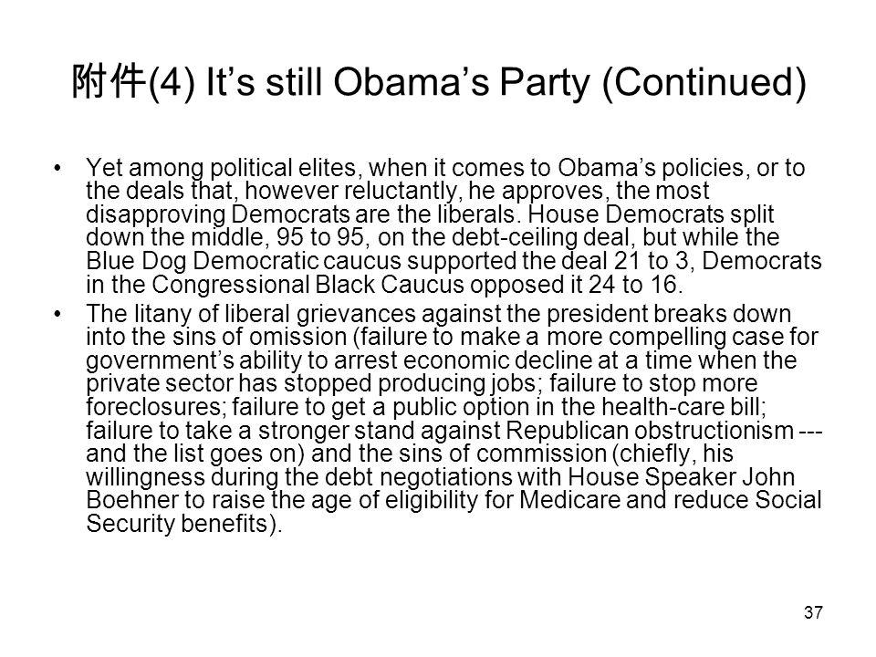 37 附件 (4) It's still Obama's Party (Continued) Yet among political elites, when it comes to Obama's policies, or to the deals that, however reluctantl