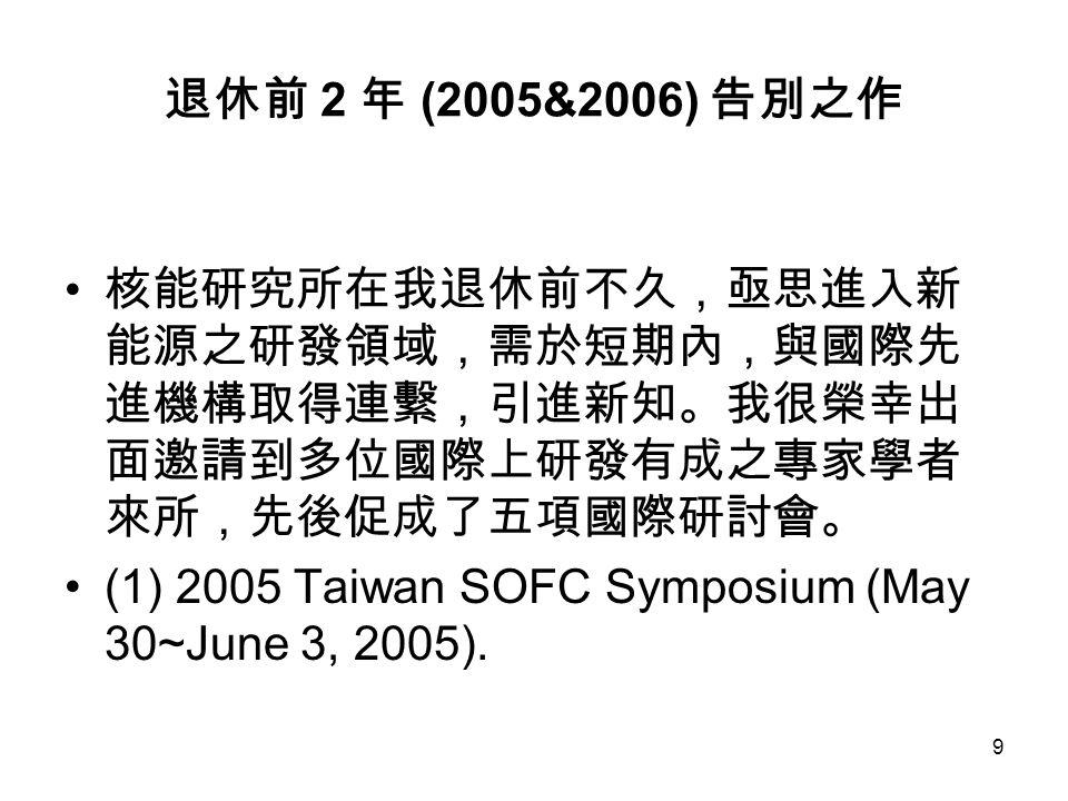 9 退休前 2 年 (2005&2006) 告別之作 核能研究所在我退休前不久,亟思進入新 能源之研發領域,需於短期內,與國際先 進機構取得連繫,引進新知。我很榮幸出 面邀請到多位國際上研發有成之專家學者 來所,先後促成了五項國際研討會。 (1) 2005 Taiwan SOFC Symposium (May 30~June 3, 2005).