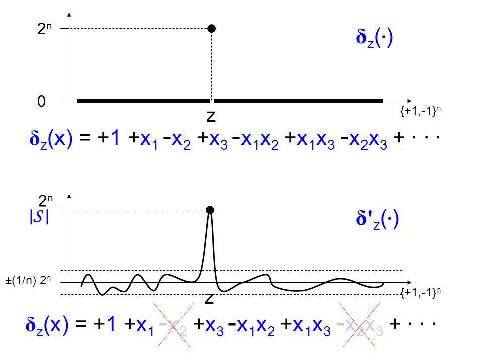2n2n 0 {+1,-1} n z δz(·)δz(·) |S ||S | ±(1/n) 2 n {+1,-1} n z δ z(·)δ z(·) 2 n δ z (x) = +1 +x 1 - x 2 +x 3 - x 1 x 2 +x 1 x 3 - x 2 x 3 + · · ·
