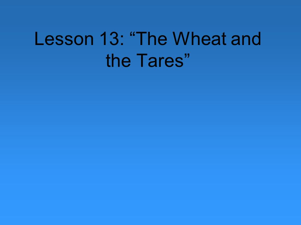 Lesson 13: The Wheat and the Tares