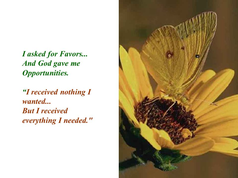 "I asked for Favors... And God gave me Opportunities. ""I received nothing I wanted... But I received everything I needed."
