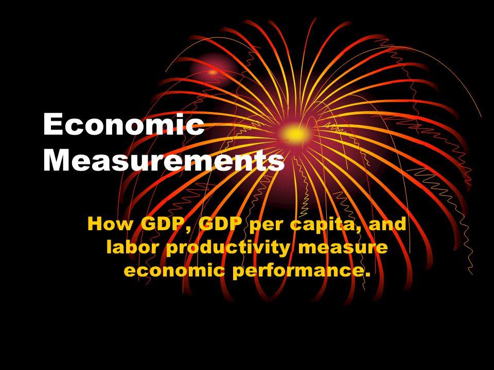 Economic Measurements How GDP, GDP per capita, and labor productivity measure economic performance.