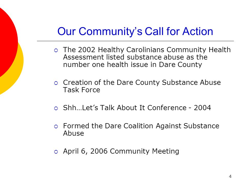 4 Our Community's Call for Action  The 2002 Healthy Carolinians Community Health Assessment listed substance abuse as the number one health issue in