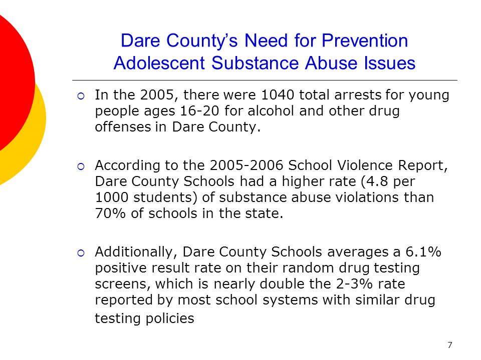 7 Dare County's Need for Prevention Adolescent Substance Abuse Issues  In the 2005, there were 1040 total arrests for young people ages 16-20 for alc