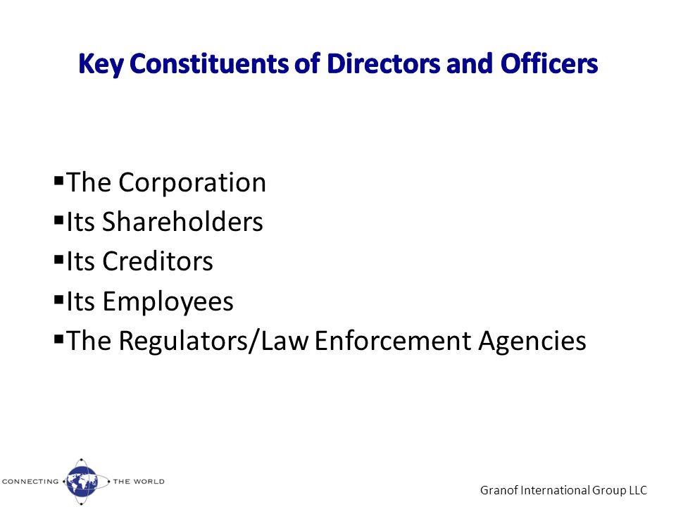 Granof International Group LLC  The Corporation  Its Shareholders  Its Creditors  Its Employees  The Regulators/Law Enforcement Agencies