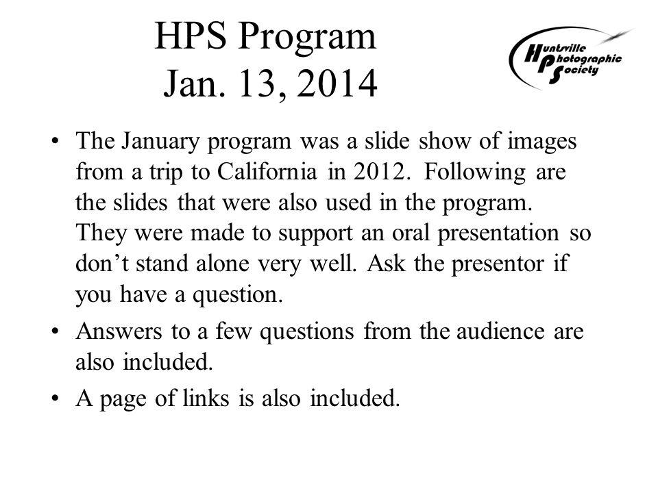 HPS Program Jan.