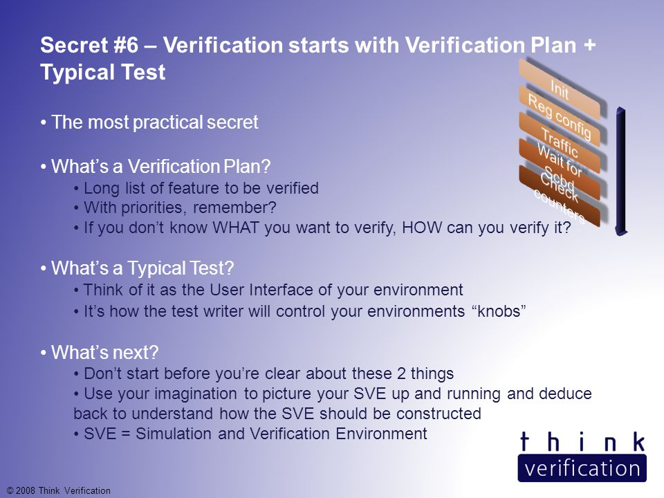 Secret #6 – Verification starts with Verification Plan + Typical Test The most practical secret What's a Verification Plan.