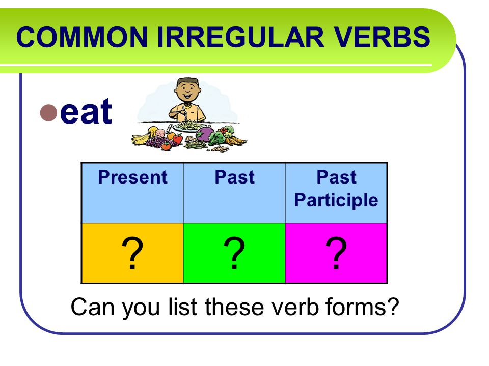 COMMON IRREGULAR VERBS eat Can you list these verb forms PresentPastPast Participle