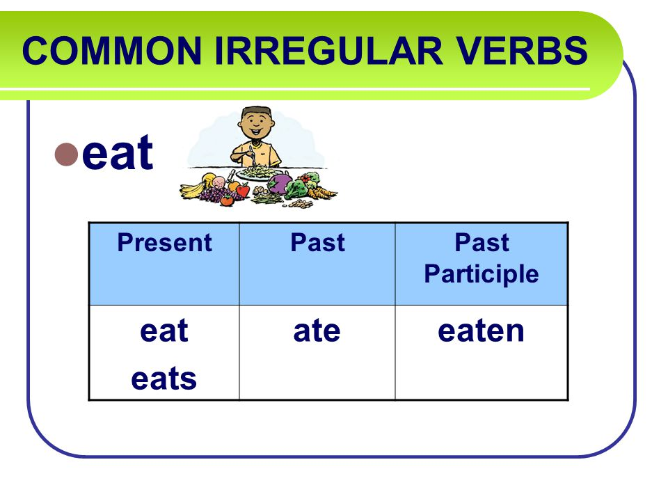 COMMON IRREGULAR VERBS eat PresentPastPast Participle eat eats ateeaten