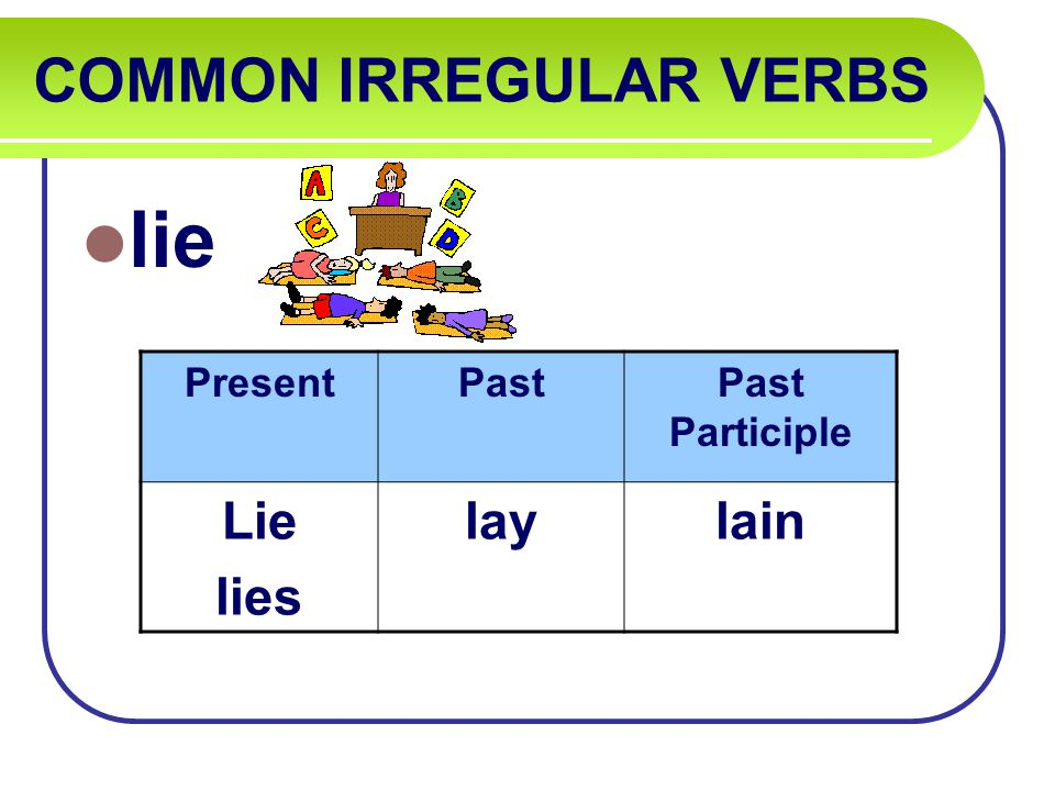 COMMON IRREGULAR VERBS lie PresentPastPast Participle Lie lies laylain
