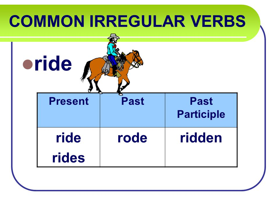 COMMON IRREGULAR VERBS ride PresentPastPast Participle ride rides roderidden