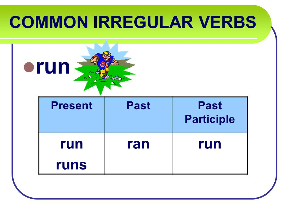 COMMON IRREGULAR VERBS run PresentPastPast Participle run runs ranrun