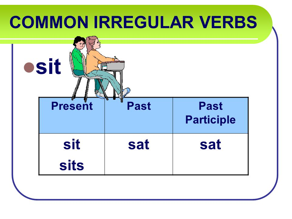 COMMON IRREGULAR VERBS sit PresentPastPast Participle sit sits sat