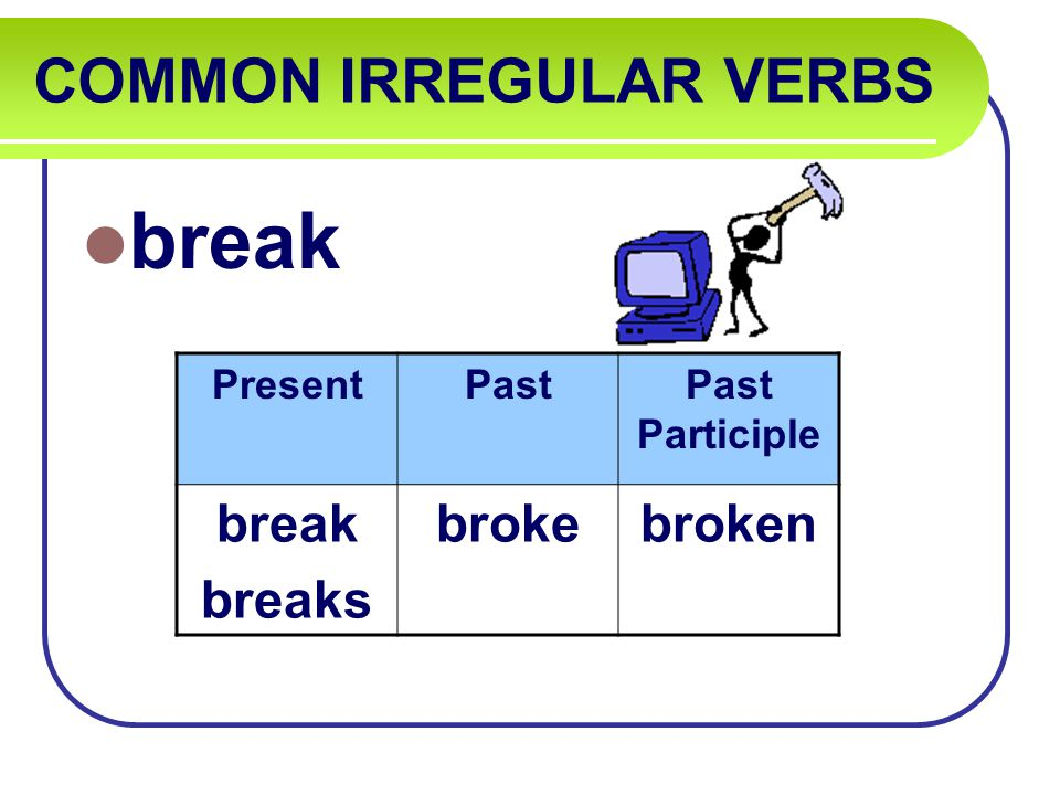 COMMON IRREGULAR VERBS break PresentPastPast Participle break breaks brokebroken
