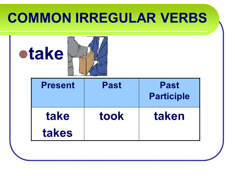 COMMON IRREGULAR VERBS take PresentPastPast Participle take takes tooktaken