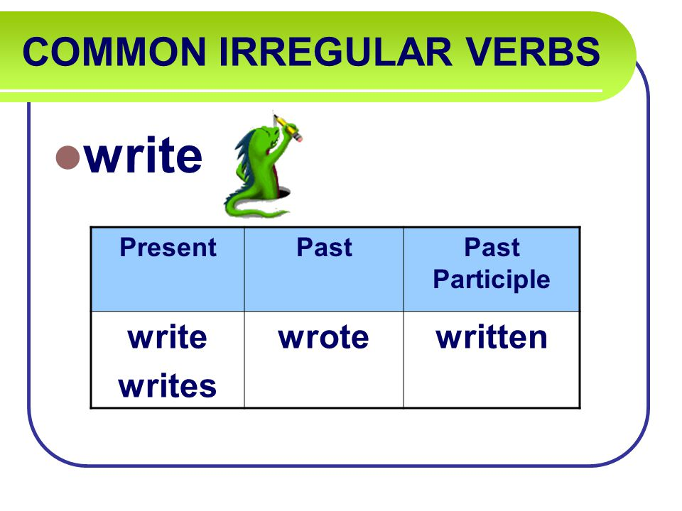 COMMON IRREGULAR VERBS write PresentPastPast Participle write writes wrotewritten