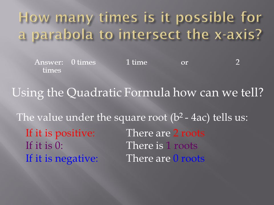 Answer: 0 times1 timeor2 times Using the Quadratic Formula how can we tell.