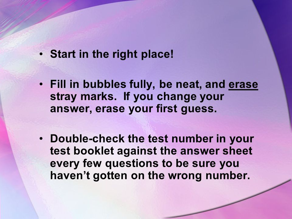 Key Words key wordsphrasesFind key words or phrases in the question that will help you choose the correct answer.