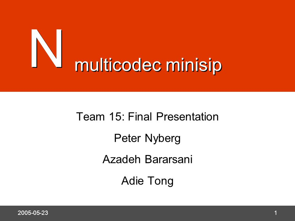 N 2005-05-231 Team 15: Final Presentation Peter Nyberg Azadeh Bararsani Adie Tong N N multicodec minisip