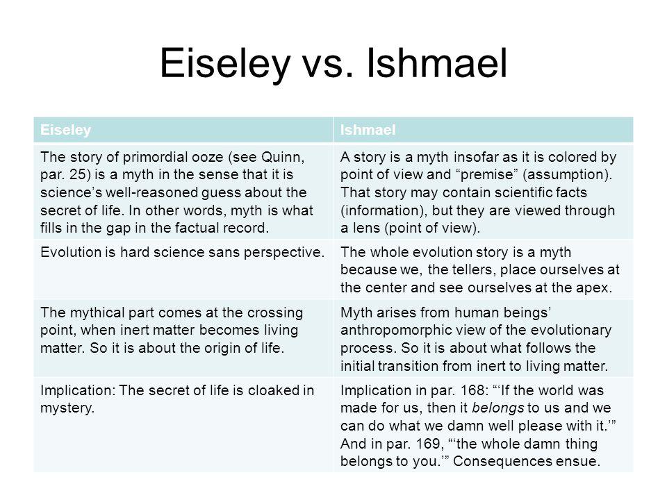 Eiseley vs. Ishmael EiseleyIshmael The story of primordial ooze (see Quinn, par.