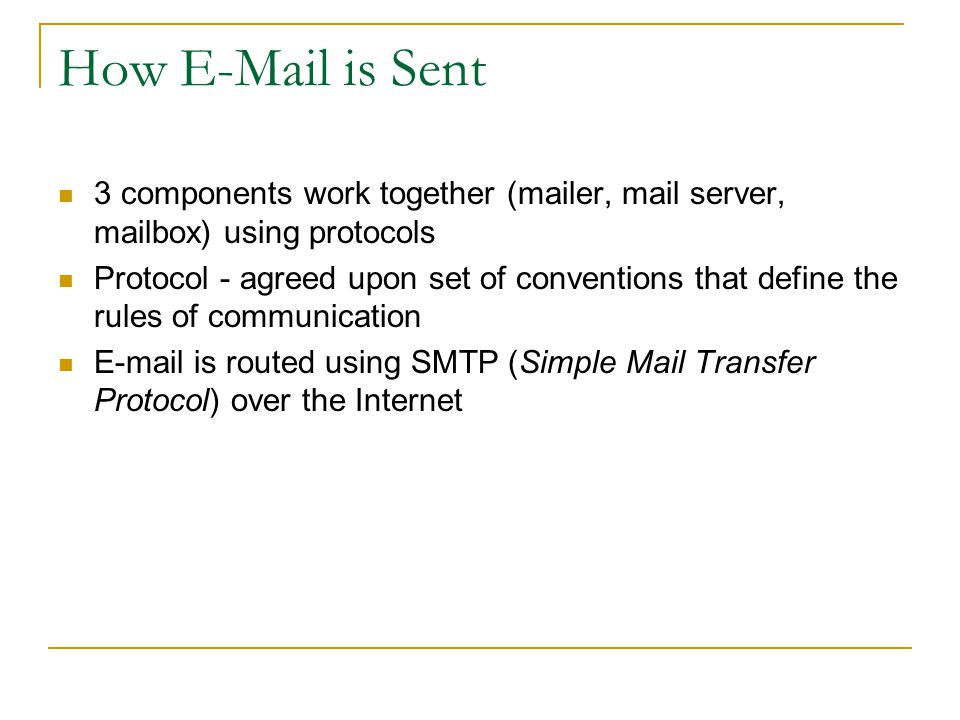 Pine - A Mail Program Developed at U of Washington in 1989 for e-mail Acronym for Program for Internet News and E-mail Keyboard/menu driven (no GUI) Offers extensive on-line help Why Pine