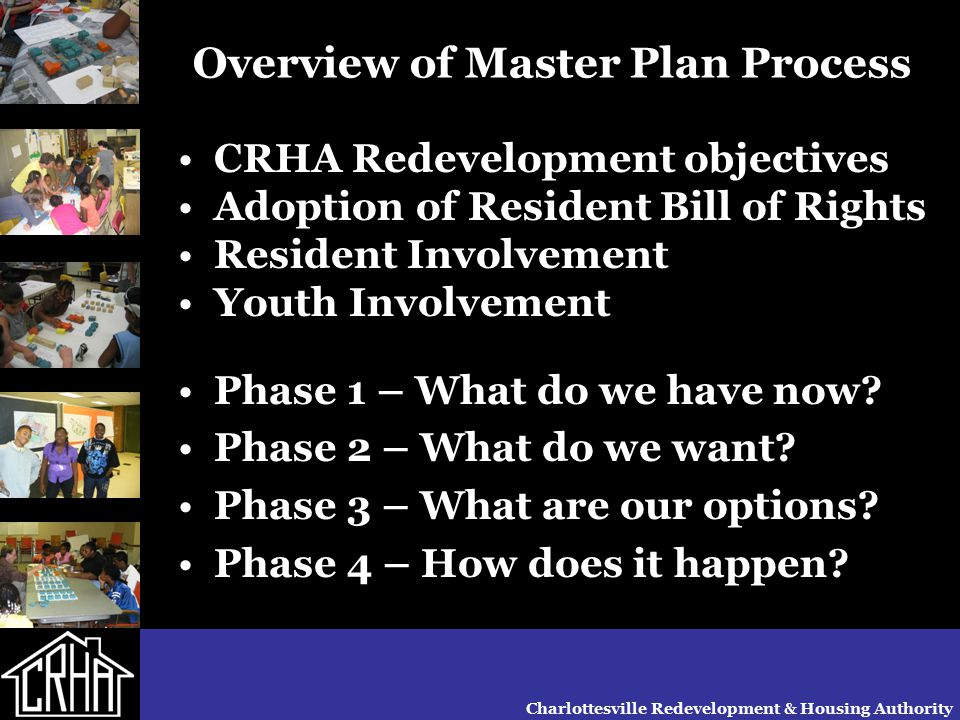 Charlottesville Redevelopment & Housing Authority Overview of Master Plan Process CRHA Redevelopment objectives Adoption of Resident Bill of Rights Re