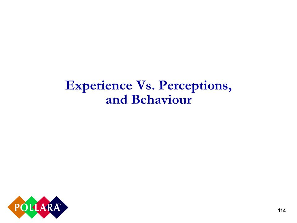 114 Experience Vs. Perceptions, and Behaviour