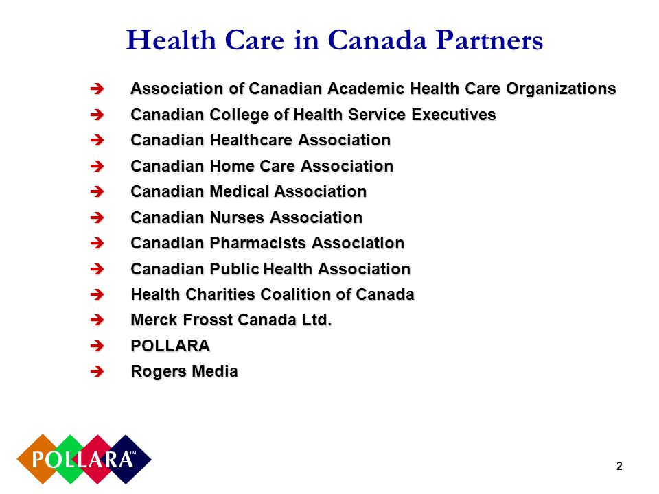 2 Health Care in Canada Partners  Association of Canadian Academic Health Care Organizations  Canadian College of Health Service Executives  Canadian Healthcare Association  Canadian Home Care Association  Canadian Medical Association  Canadian Nurses Association  Canadian Pharmacists Association  Canadian Public Health Association  Health Charities Coalition of Canada  Merck Frosst Canada Ltd.