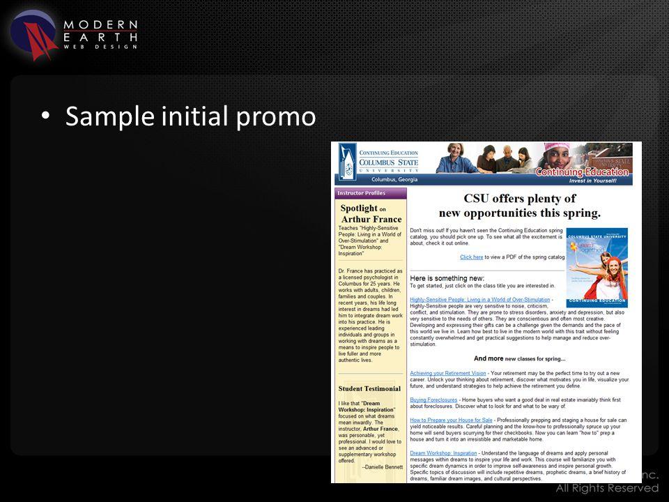 Sample initial promo