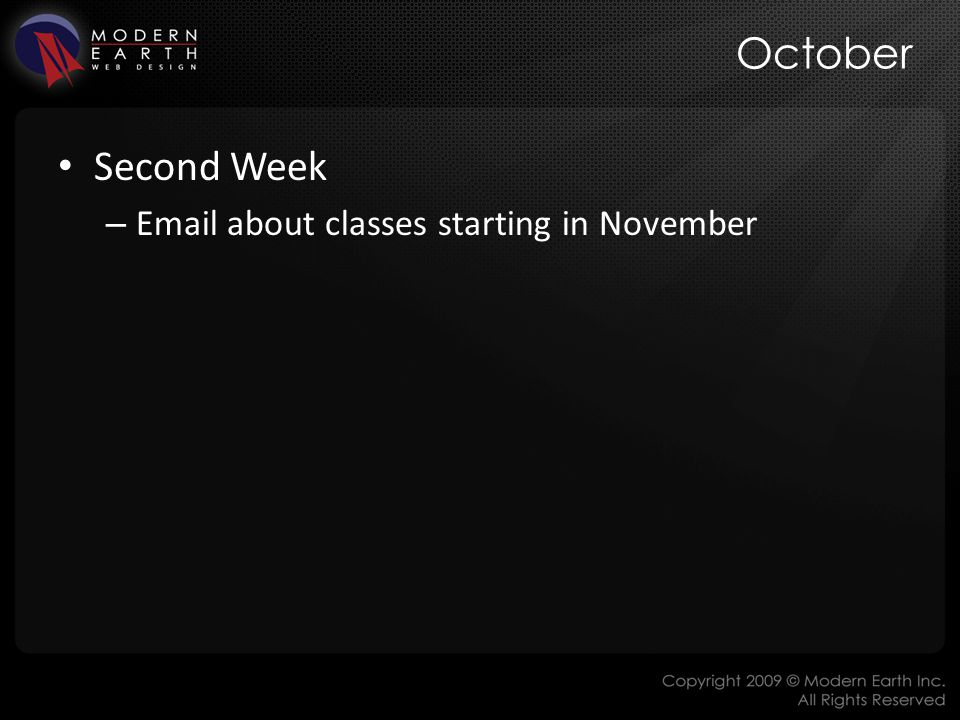 October Second Week – Email about classes starting in November