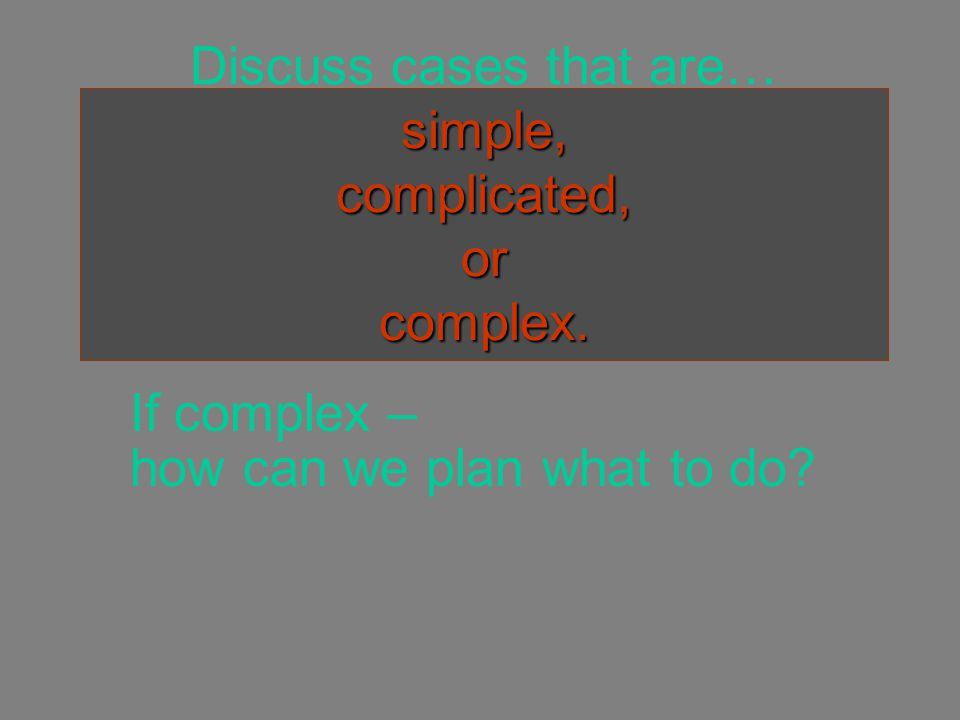 simple, complicated, or complex. Discuss cases that are… simple, complicated, or complex.