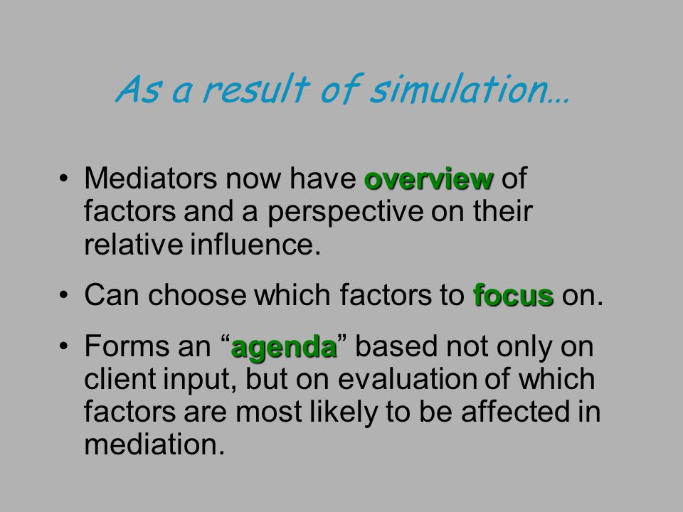 As a result of simulation… overviewMediators now have overview of factors and a perspective on their relative influence.