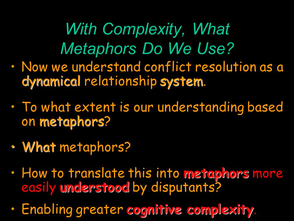 With Complexity, What Metaphors Do We Use.