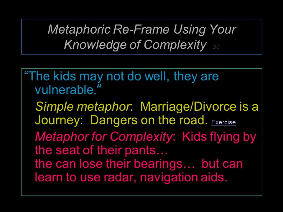 Metaphoric Re-Frame Using Your Knowledge of Complexity 30 The kids may not do well, they are vulnerable. Simple metaphor: Marriage/Divorce is a Journey: Dangers on the road.