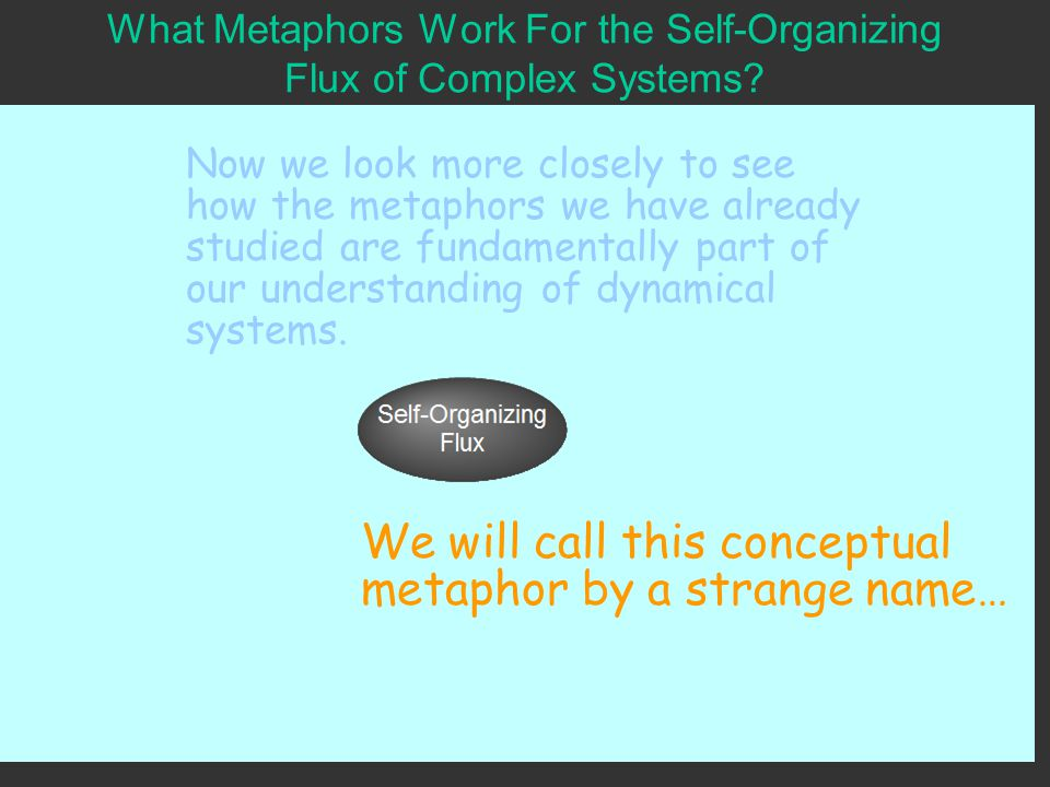 What Metaphors Work For the Self-Organizing Flux of Complex Systems.