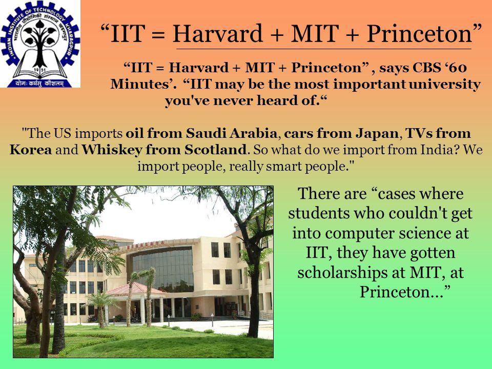 """IIT = Harvard + MIT + Princeton"" ""IIT = Harvard + MIT + Princeton"", says CBS '60 Minutes'. ""IIT may be the most important university you've never hea"