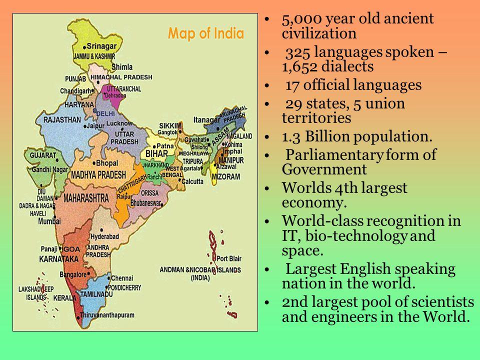 5,000 year old ancient civilization 325 languages spoken – 1,652 dialects 17 official languages 29 states, 5 union territories 1.3 Billion population.