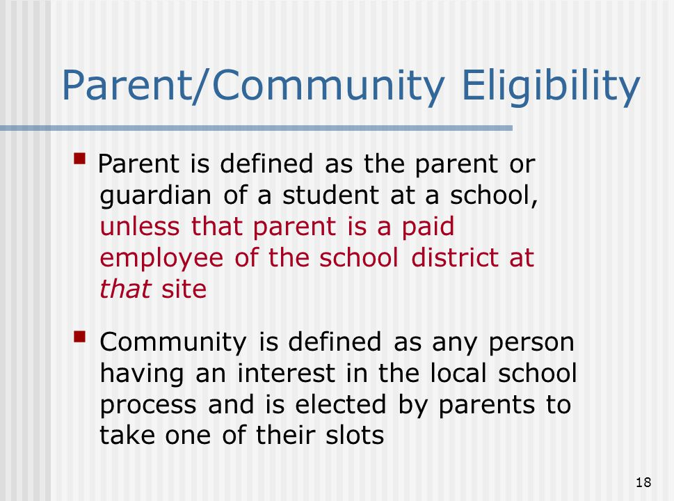 18  Parent is defined as the parent or guardian of a student at a school, unless that parent is a paid employee of the school district at that site 