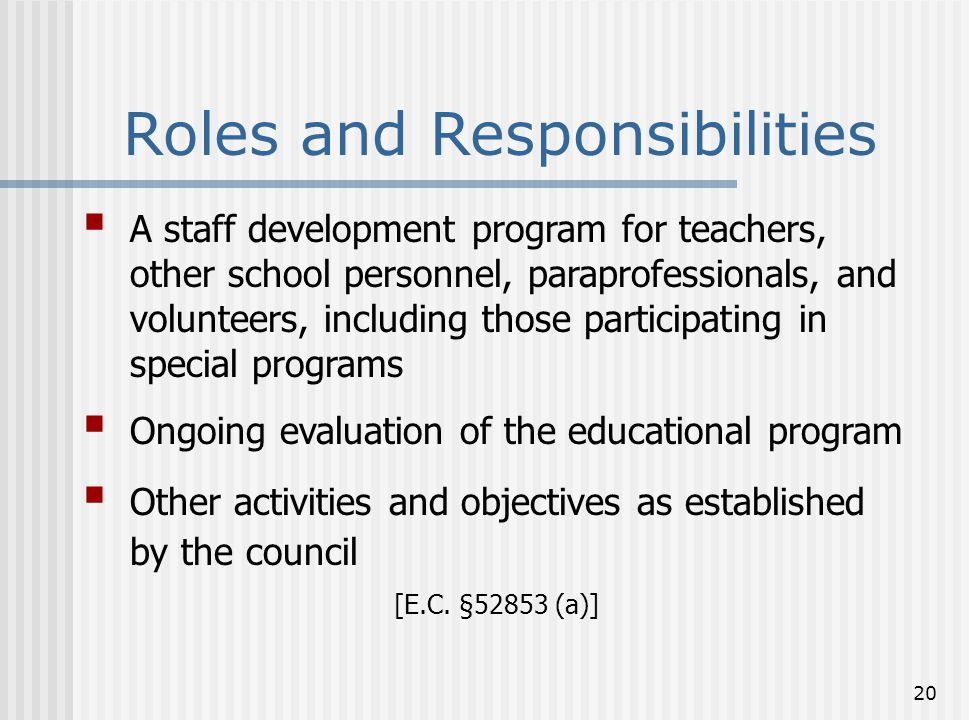 20 Roles and Responsibilities  A staff development program for teachers, other school personnel, paraprofessionals, and volunteers, including those p