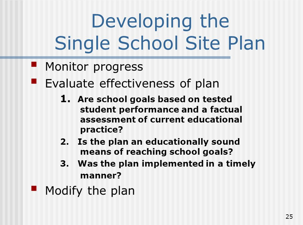 25 Developing the Single School Site Plan  Monitor progress  Evaluate effectiveness of plan 1. Are school goals based on tested student performance