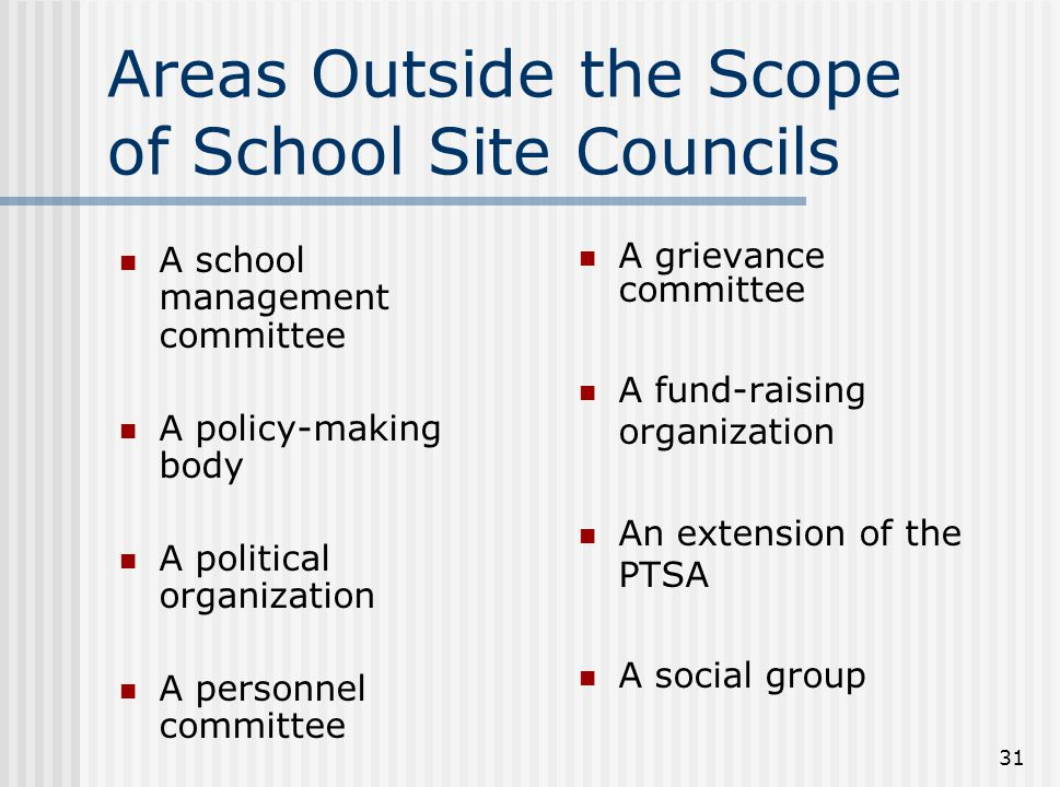 31 Areas Outside the Scope of School Site Councils A school management committee A policy-making body A political organization A personnel committee A