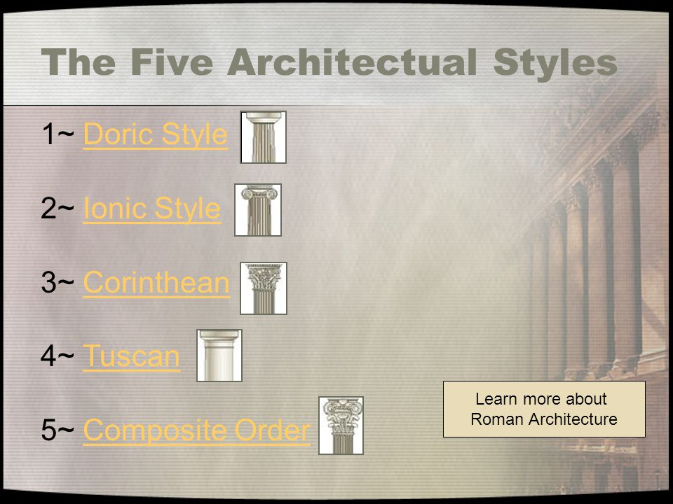 The Five Architectual Styles Learn more about Roman Architecture 1~ Doric StyleDoric Style 2~ Ionic StyleIonic Style 3~ CorintheanCorinthean 4~ TuscanTuscan 5~ Composite OrderComposite Order