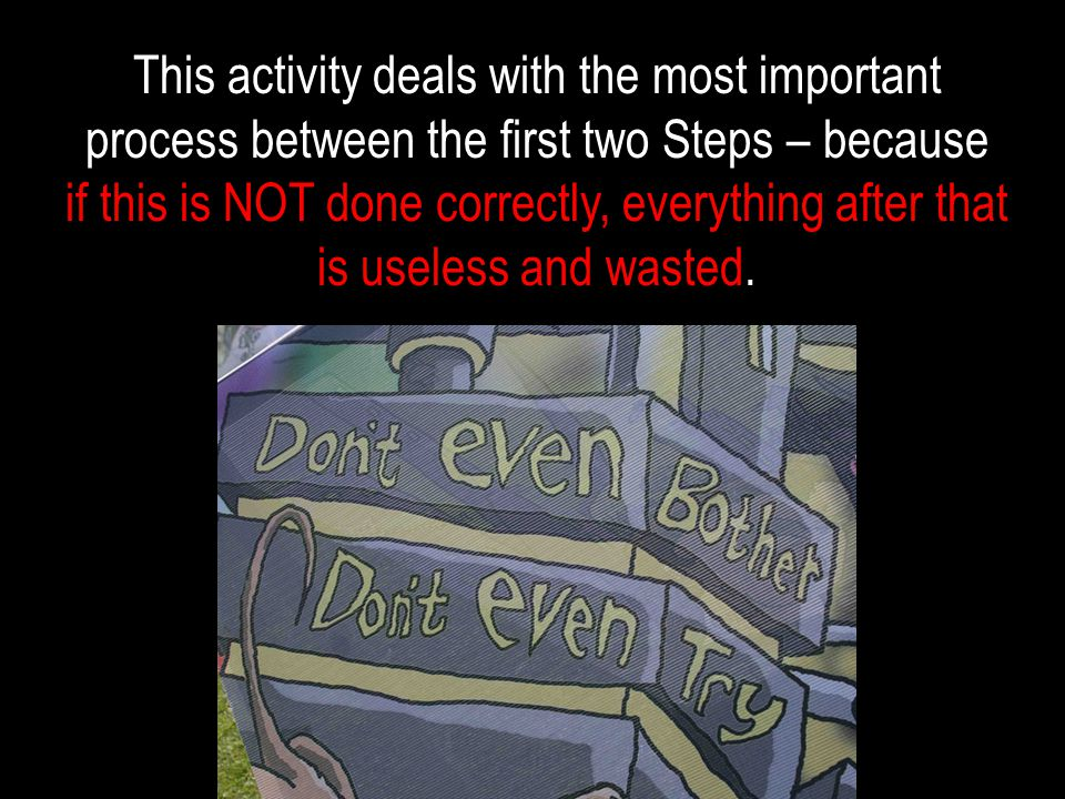 This activity deals with the most important process between the first two Steps – because if this is NOT done correctly, everything after that is useless and wasted.