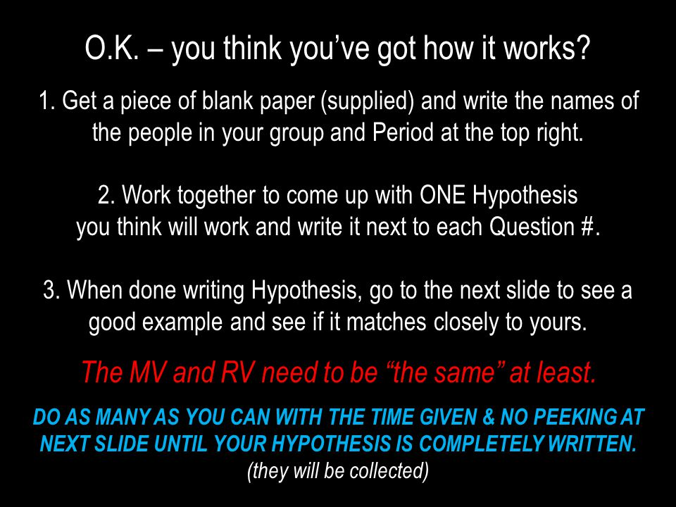 O.K. – you think you've got how it works? 1. Get a piece of blank paper (supplied) and write the names of the people in your group and Period at the t