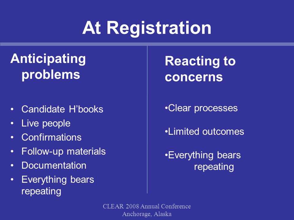 At Registration Anticipating problems Candidate H'books Live people Confirmations Follow-up materials Documentation Everything bears repeating CLEAR 2