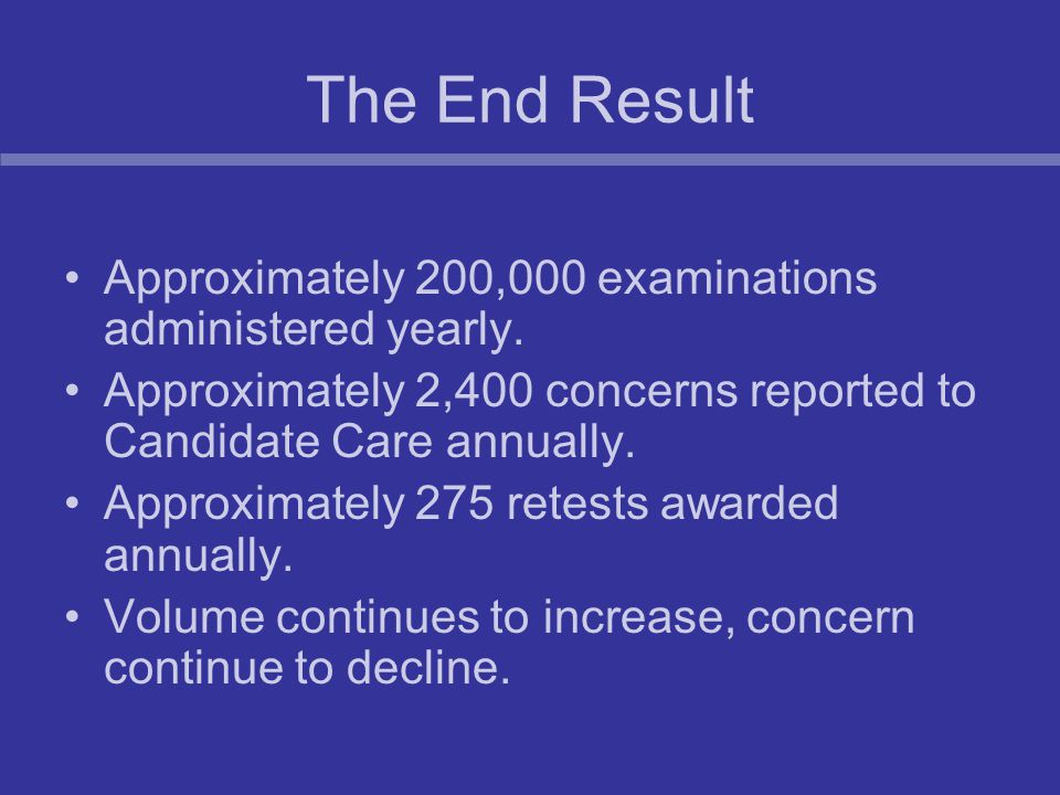 The End Result Approximately 200,000 examinations administered yearly.