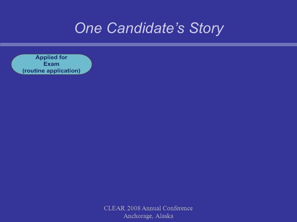 One Candidate's Story CLEAR 2008 Annual Conference Anchorage, Alaska