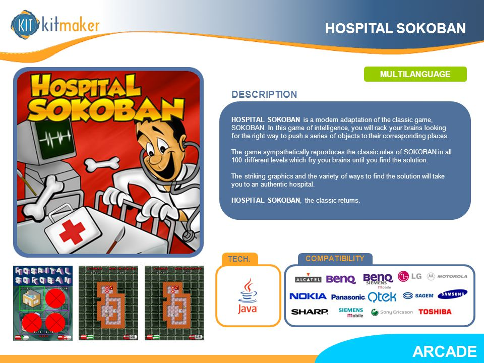 TECH.COMPATIBILITY HOSPITAL SOKOBAN is a modern adaptation of the classic game, SOKOBAN.