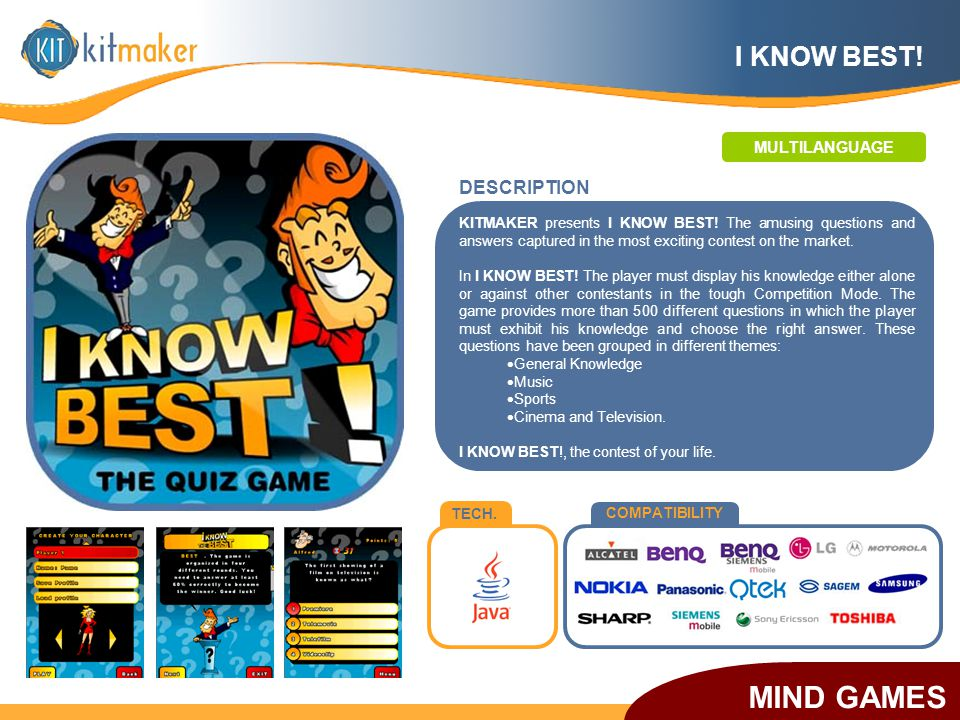 TECH. COMPATIBILITY KITMAKER presents I KNOW BEST! The amusing questions and answers captured in the most exciting contest on the market. In I KNOW BE